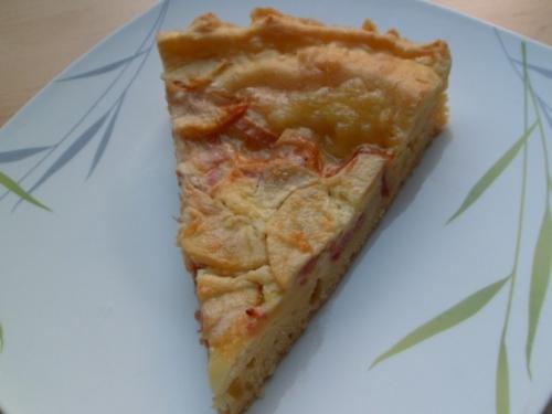 Maroilles, pâte briochée, pomme, lardons