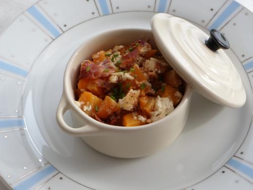 Courge butternut, jambon sec, feta