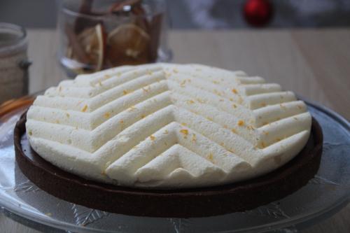 tarte sucrée, chocolat, clémentine