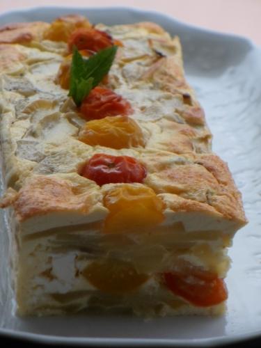 Flan salé, Feta, courgette, tomates cerises