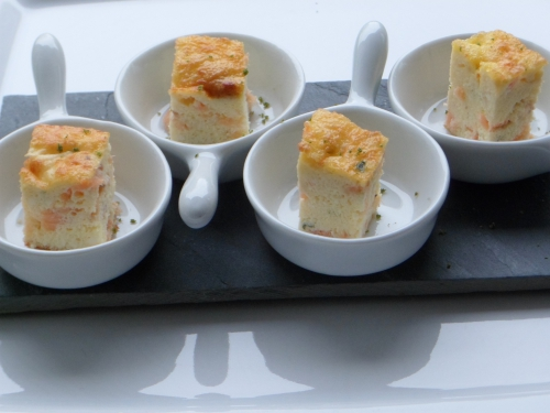 Amuse-bouche, saumon, œuf, ricotta, citron vert