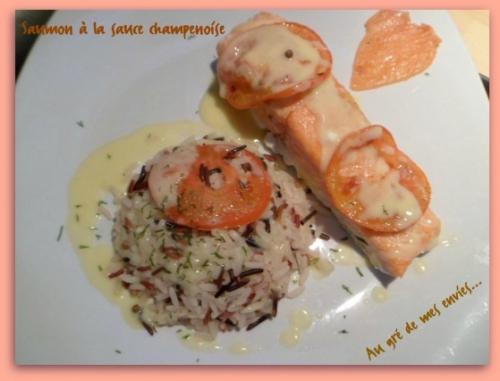 Saumon, riz, champagne