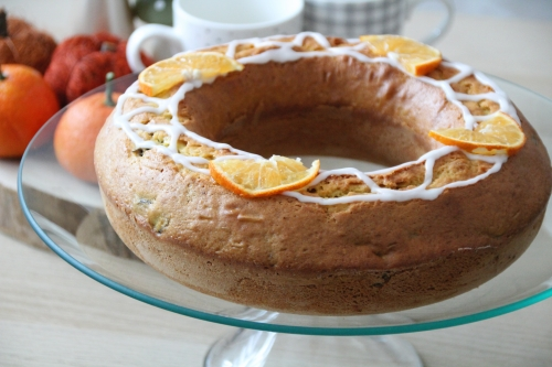 gâteau, orange, pruneau