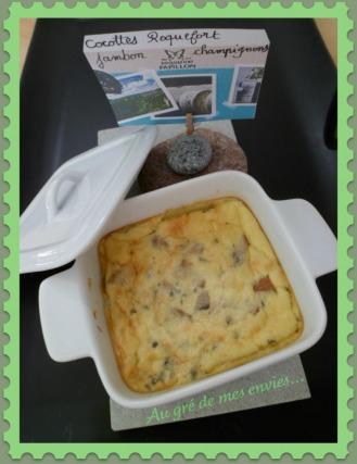 Cocottes, roquefort, champignons