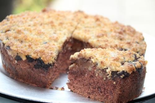 gâteau,crumble, chocolat, poire