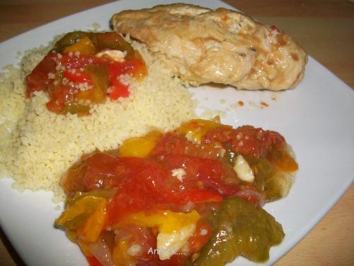 poulet, poivron, tomate