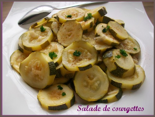 Courgettes, salade