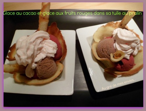 Glace cacao, glace fruits rouges, tuile
