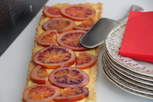 tarte sucrée, orange, orange sanguine, vanille