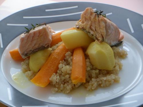 Saumon, quinoa, navets, carottes