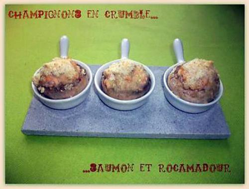 Champignon, crumble, saumon