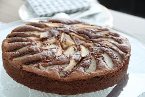 Brownie, chocolat, poire