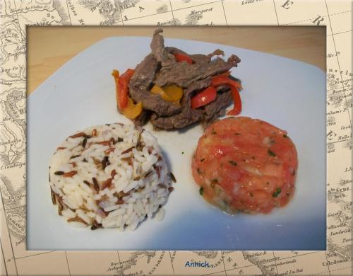 bœuf, tomate, poivron